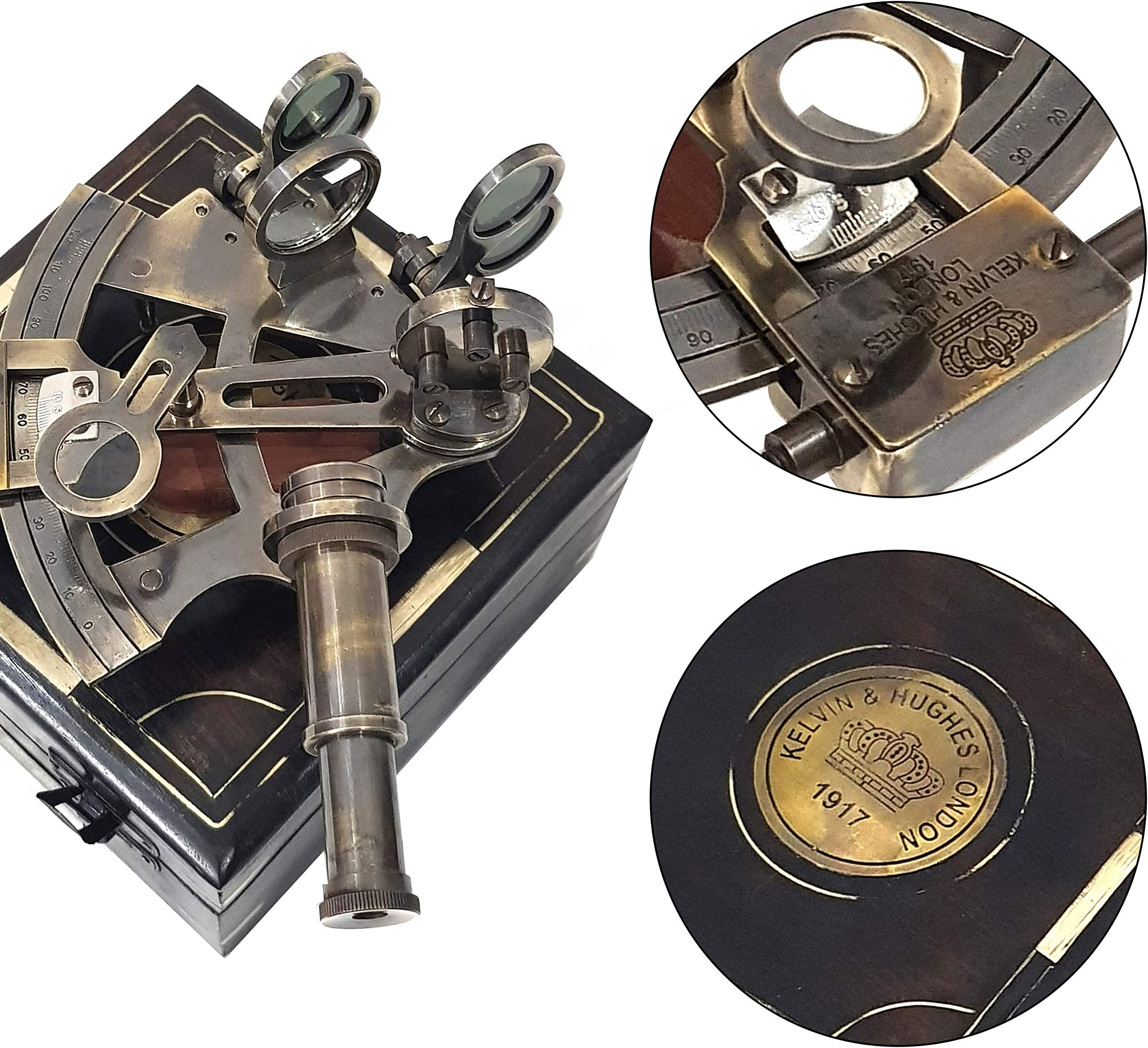 Antique Maritime Brass Sextant Vintage Nautical Kelvin /& Hughes Sextant in Cover