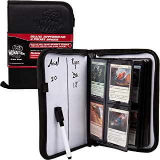 Trading Card Binder w 2 Built-in Dry Erase Boards- Premium Leather Grip Cover w Zipper Closure and Marker Included- 4 Pocket 160 Card Album for Magic The Gathering, MTG, All TCGs, Pokemon, Yugioh