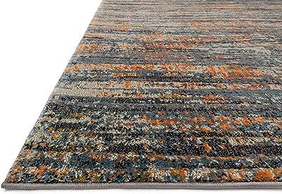 """Loloi DREAMSCAPE Area Rug, 5' x 7'-6"""", Slate/Orange"""