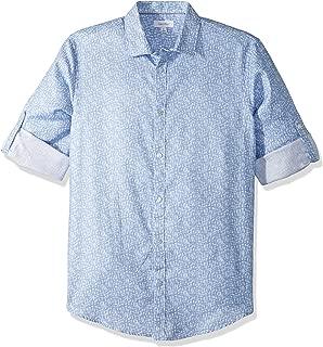 Calvin Klein Long Sleeve Printed Crosshatch Roll-up Button Down Shirt