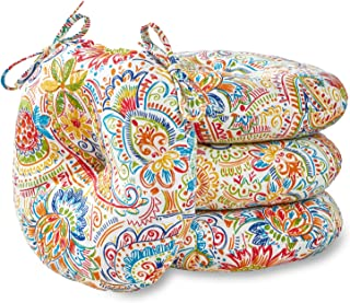 Greendale Home Fashions 15 in. Round Outdoor Bistro Chair Cushion in Painted Paisley (set of 4), Jamboree