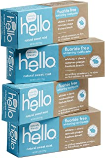 Hello Oral Care Fluoride Free Whitening Toothpaste, SLS Free and no Artificial Sweeteners, Sweet Mint, 4 Count