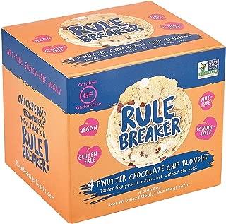Rule Breaker Snacks Cookies - PNutter Chocolate Chip Blondie - Vegan, Gluten Free, Nut Free, Allergy Friendly, Kosher, Individually Wrapped and School Safe (4 Blondies)