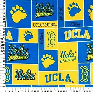 College UCLA University of California Los Angeles Bruins Print Fleece Fabric By the Yard