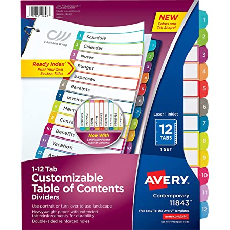 Avery 12 Tab Dividers for 3 Ring Binders, Customizable Table of Contents, Multicolor Tabs, 1 Pack