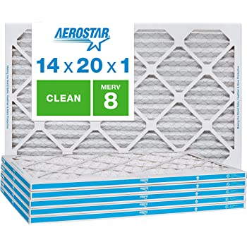 Aerostar Clean House 14x20x1 MERV 8 Pleated Air Filter, Made in the USA, 6-Pack, White