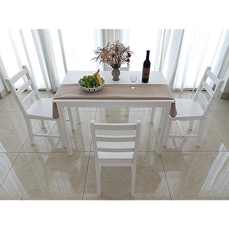 furniture-uk-shop Ensemble Table en Bois + 4 Chaises pour Salle à Manger, Cuisine, Séjour, Café, Poids:27kg, Blanc