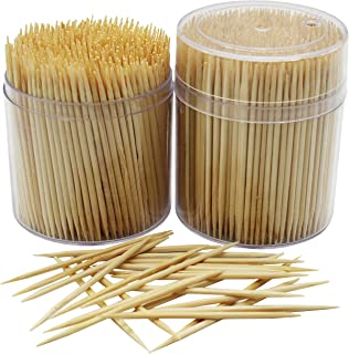 MontoPack Bamboo Wooden Toothpicks  1000-Piece Large Wood Round Toothpicks in Clear Plastic Storage Box   Sturdy Safe Double Sided Party, Appetizer, Olive, Barbecue, Fruit, Teeth Cleaning Toothpicks.