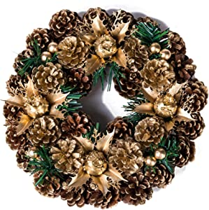 Xena 1 Piece Gold Green Elegant Vintage Holiday Christmas Wreath Door Decoration Faux Tree Pine Cones Poinsettia Mistletoe Ribbon Tinsel Indoor Outdoor Medium 10 Inch Home Accessories