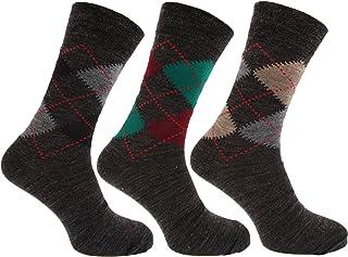 calcetines con mezcla de lana de corderos Estampado a rombos tradicional con Lycra (Pack de 3)
