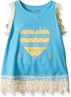 Dream Star Little Girls' Aztec Heart Screen Tank with Thick Crochet at Armhole and Hem