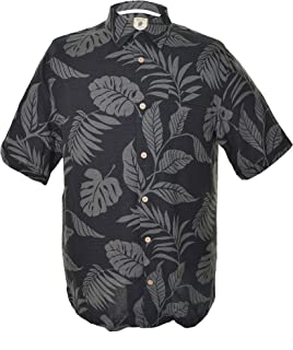 Jamaica Jaxx Men's Short Sleeve Silk Shirt-black Tropical Leaf