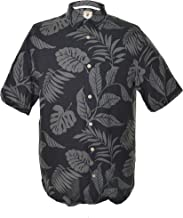 Jamaica Jaxx Men's Short Sleeve Silk Shirt-black Tropical Leaf