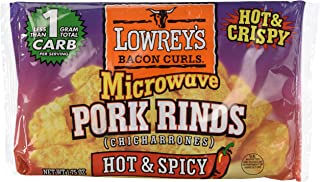 Lowrey's Bacon Curls Microwave Pork Rinds (Chicharrones), Hot & Spicy, 1.75 Ounce