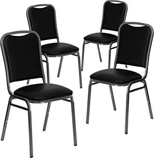 Flash Furniture 4 Pk. HERCULES Series Stacking Banquet Chair in Black Vinyl - Silver Vein Frame