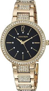 Armitron Women's 75/5418BKGP Swarovski Crystal Accented Gold-Tone Bracelet Watch