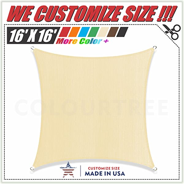 ColourTree 16 X 16 Beige Sun Shade Sail Canopy Square Commercial Standard Heavy Duty We Make Custom Size