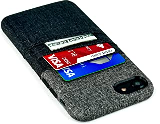 Dockem Card and Cash Case for iPhone 8 and iPhone 7 - Minimalist Synthetic Leather Wallet Case with Canvas Twill Styling, Slim Cover with 2 Card Holder Slots, 1 Cash Pocket (Black and Grey)
