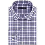 Tommy Hilfiger Men's Regular Fit Non-Iron Navy Check Dress Shirt Royalty 16 32/33
