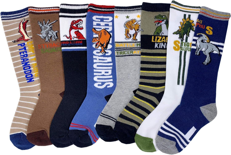 Boys Knee High Tube Socks Dinosaur Comfort Cotton Stockings Socks 8 Pair Pack