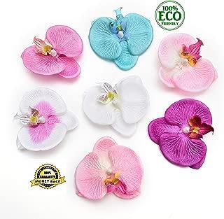 silk flowers in bulk wholesale Fake Flowers Heads Fashion Orchid Artificial Flower DIY Phalaenopsis Orchid Butterfly Artificial Flower Silk Bouquet Wedding Home Decor 7cm 20pcs (Multicolor)