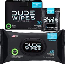 DUDE Wipes Flushable Wipes (48 Count Dispenser and 30 Single Wipes) Individually Wrapped & Dispenser Natural Unscented wit...