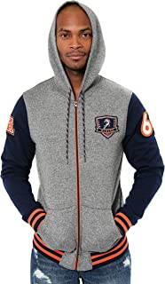 NFL Ultra Game Men's Full Zip Fleece Hoodie Letterman Varsity Jacket