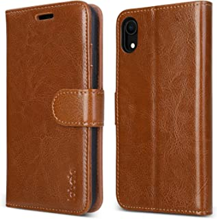 labato iPhone XR Wallet Case, Genuine Leather Magnetic Closure Flip Case Cover with Credit Card Holder Support Wireless Charging Shockproof Protective Case for Apple iPhone XR 6.1'' Brown