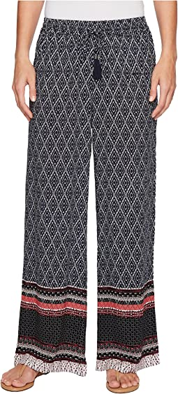 "Tribal Printed 30"" Wide Leg Drawstring Pants in Twilight"