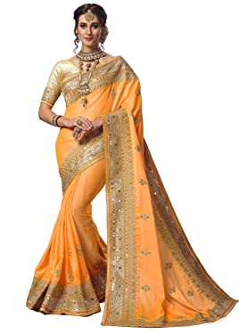 Nivah Fashion Women's Satin Embroidery Work Saree with Blouse Piece K715(Yellow)