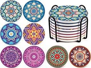 LIFVER 8 Packs Absorbent Drink Coaster Sets, Mandala Style Ceramic Stone Coasters with Holder, 4 Inches Coasters for Drinks with Cork Base, Multicolors