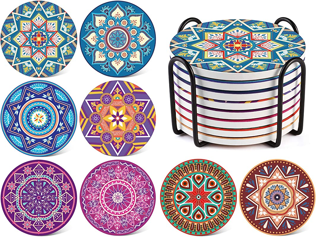 LIFVER 8 Packs Absorbent Drink Coaster Sets Mandala Style Ceramic Stone Coasters With Holder 4 Inches Coasters For Drinks With Cork Base Multicolors