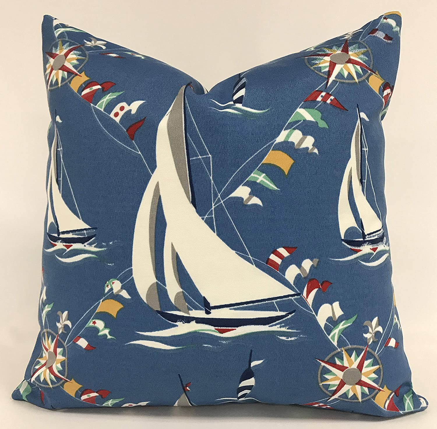 BYRON HOYLE Pillow Cover Max Special sale item 82% OFF Sailboat Outdoor Nautical