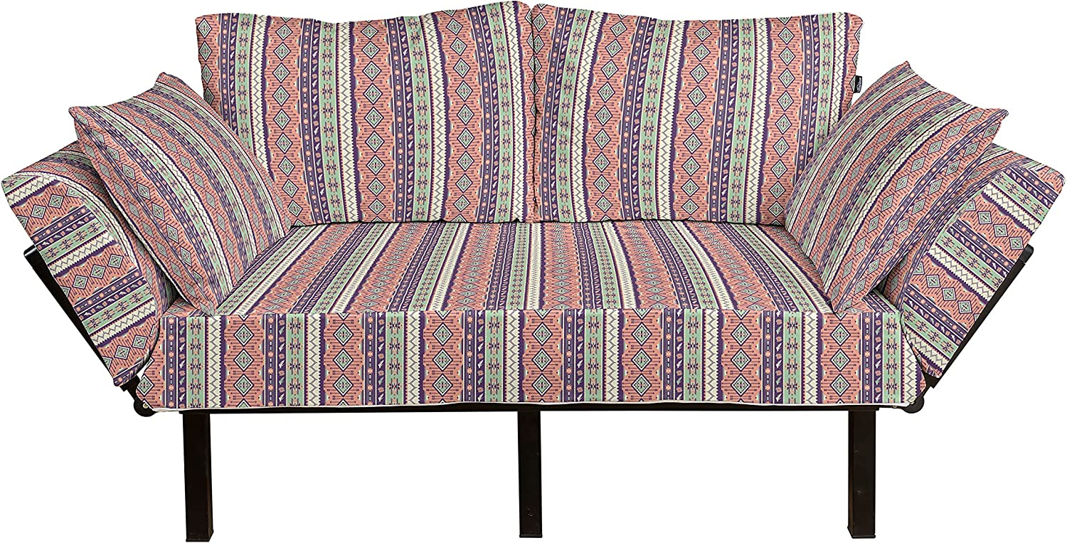 Lunarable Aztec Futon Couch Ranking TOP1 Delicate and Birds Rose Geom Blooms Washington Mall