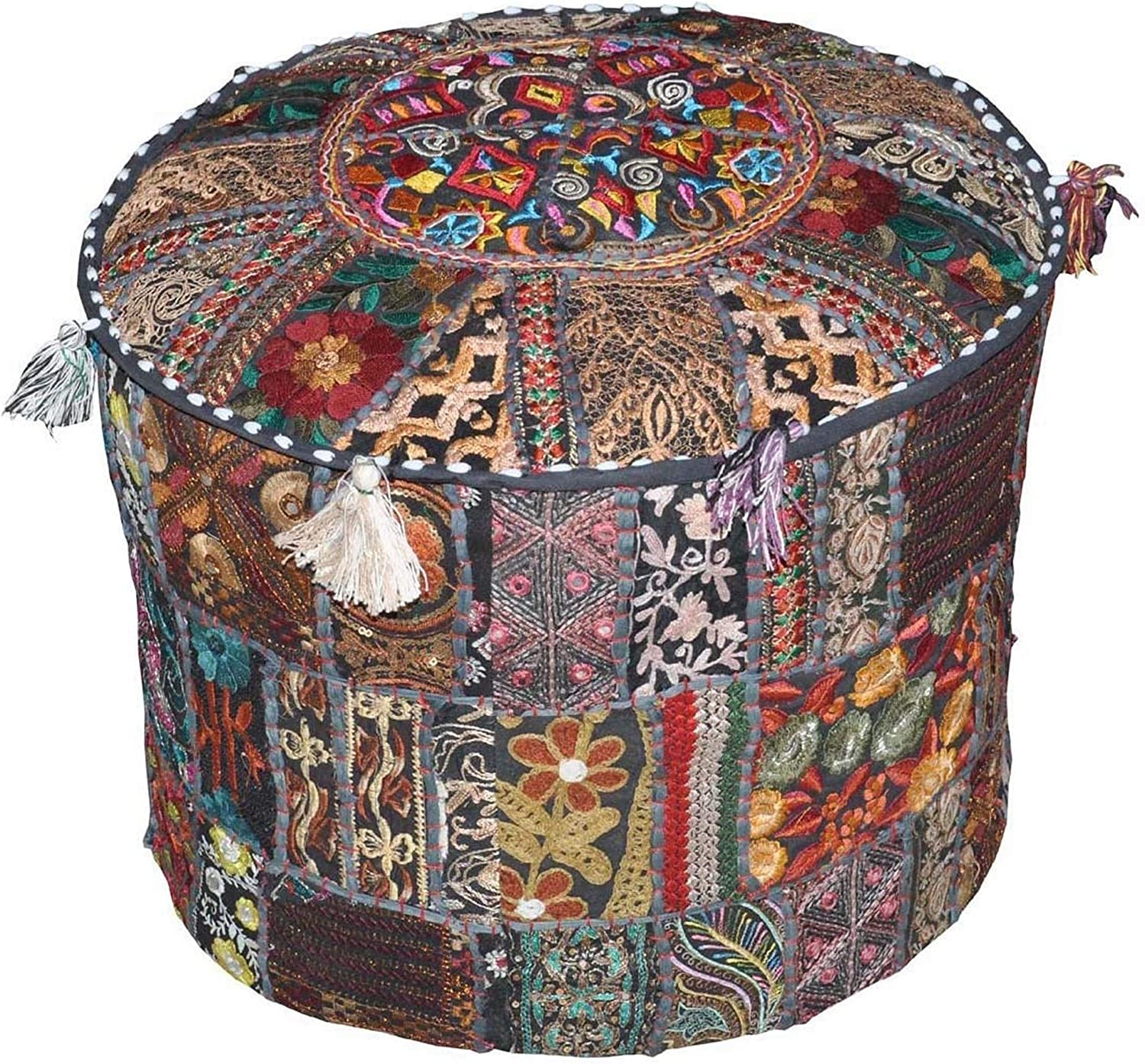 The Art Box Indian Pouf San Diego Mall Ethnic Footstool Regular dealer Cover Embroidered