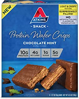 Atkins Protein Wafer Crisps, Chocolate Mint, Keto Friendly, 5 Count
