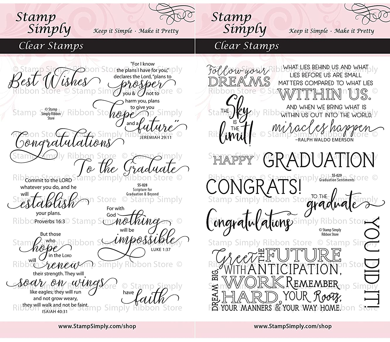 Stamp Simply Clear Stamps Graduation Congratulations Graduate Scripture Sentiments Christian Religious (2-Pack) 4x6 Inch Sheets - 18 Pieces