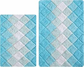 Non Slip Bath Rugs for Bathroom, Set 2 Piece in 100% Cotton Albany Inspired Bath Rugs 21x32/17x34,Aqua Turq Combo,Cotton B...