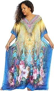 Osetawa Women's Flowy Colorful V/Round Neck Long Caftan/Kaftan Dress/Cover Up with Embellishments