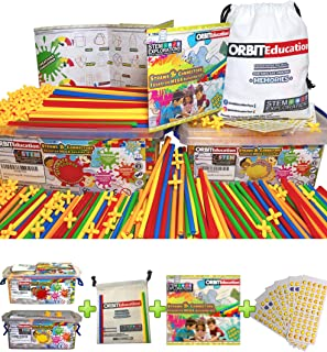 Orbit Education Large (800/400) Piece STEM Straws and Connectors Building Sets with 100% Cotton Tote Bag and Storage Box C...