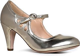 Mary Jane Pumps - Low Kitten Heels - Vintage Retro Round...