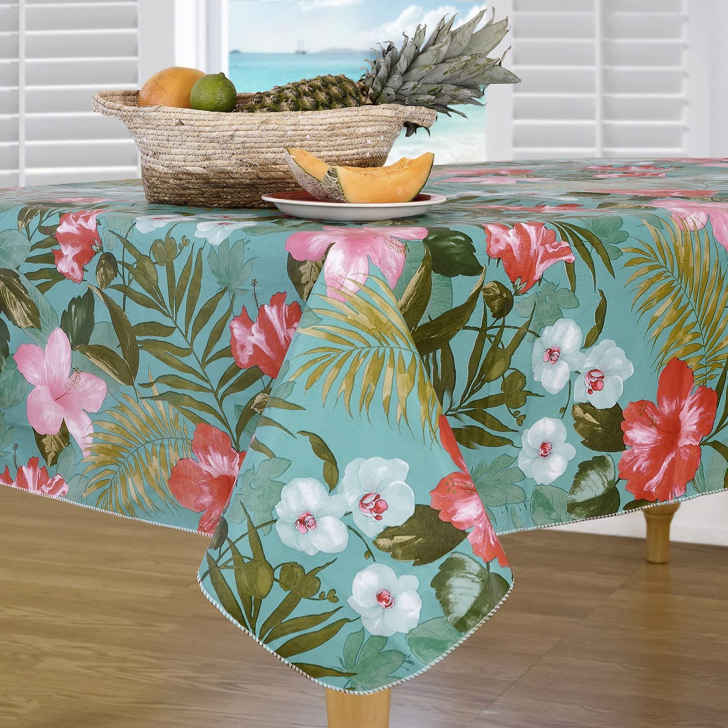Everyday Luxuries by Newbridge Island Bloom Flannel Backed Indoor Outdoor Vinyl Table Linens, 60-Inch by 84-Inch Oval Tablecloth