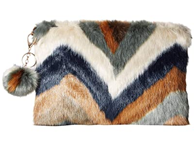San Diego Hat Company BSB3552 Chevron Faux Fur Clutch (Multi) Clutch Handbags