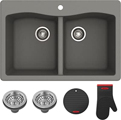 "Kraus Forteza 33"" Drop-In/Undermount Granite 50/50 Double Bowl Kitchen Sink - Grey (KGD-52GREY)"