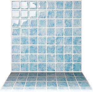 Tic Tac Tiles 10-Sheet Peel and Stick Self Adhesive Removable Stick On Kitchen Backsplash Bathroom 3D Wall Sticker Wallpaper Tiles in Vetro Aqua
