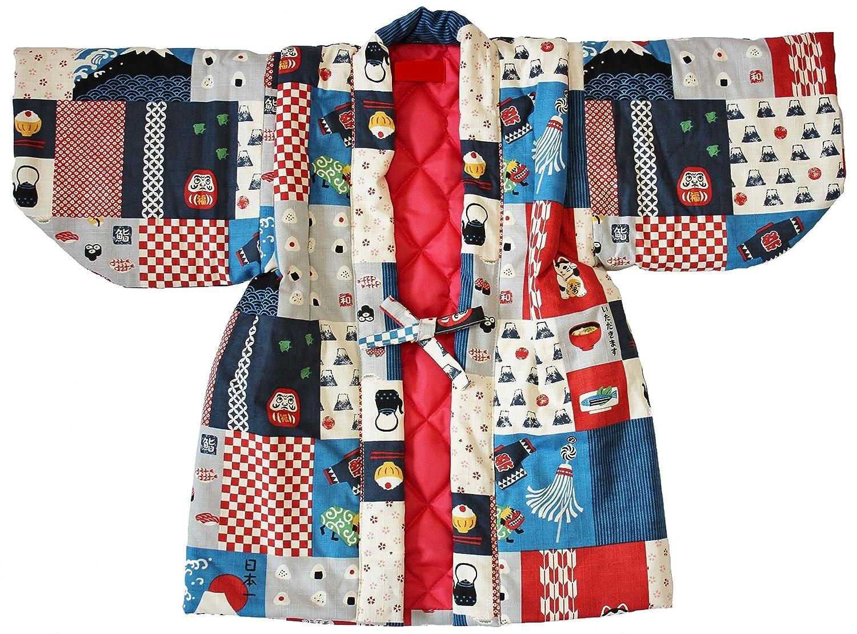 子供 ちゃんちゃんこ 半纏 はんてん 袢天 男の子 男児 日本一パッチワーク柄 赤系 裏キルト サイズ90cm 100cm 110cm 120cm 日本製