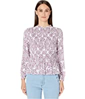 See by Chloe - Ruched Long Sleeve Printed Blouse