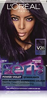 L'Oréal Paris Feria Multi-Faceted Shimmering Permanent Hair Color, V28 Midnight Violet (Deepest Violet), 1 kit Hair Dye