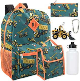 Boy's 6 in 1 Backpack Set With Lunch Bag, Pencil Case, Bottle, Keychain, Clip (Trucks)