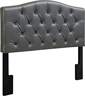 Pulaski Camel Back Button Tufted Faux Leather Upholstered Headboard, Full / Queen, 65.5